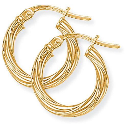 9ct Classic Twisted Hoop Earrings
