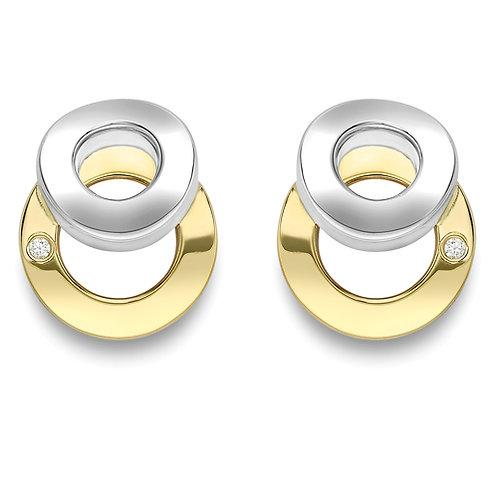 Two Tone Circle Stud Earrings