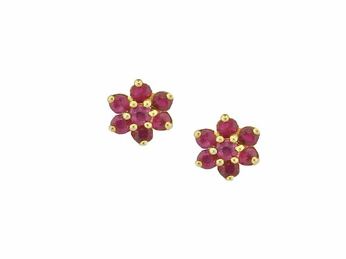 Yellow Gold Angelic Ruby Red Earrings 6390YR