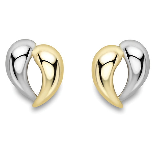 Polished Yellow and White Gold Heart Earrings