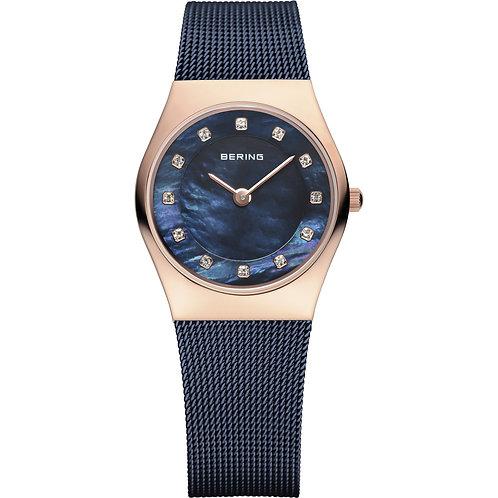 Bering Classic Watch    Blue Rose Gold   11927-367