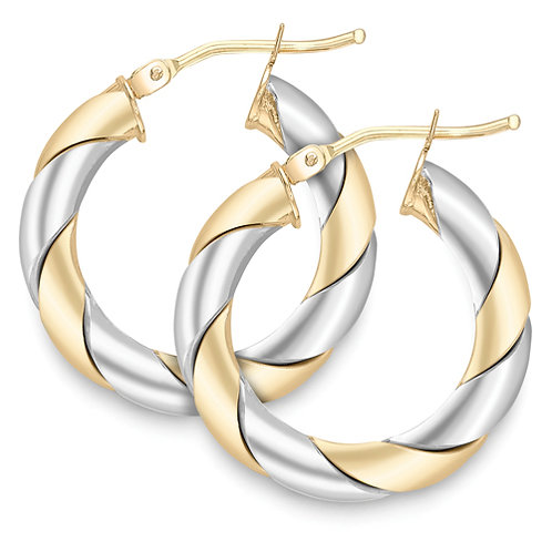 Very Chunky White and Yellow Gold Hoop Earrings