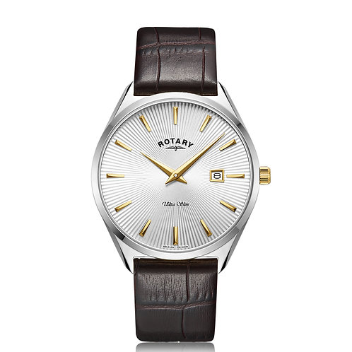Rotary Ultra Slim Mens Gold Brown Leather Watch