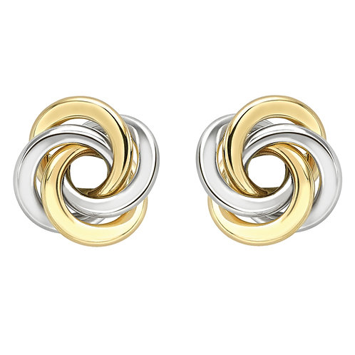 White and Yellow Gold Classic Studs