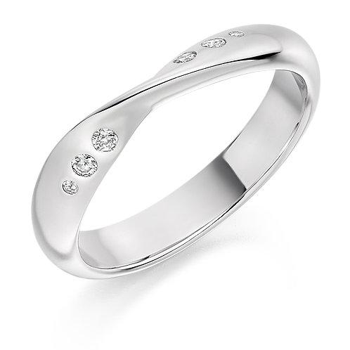 Platinum Shaped Half Eternity Ring