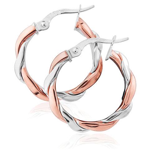 White and Rose Gold Twist Hoop Earrings