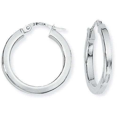White Gold Square Tube Hoops