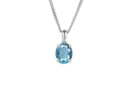 9ct White Gold Blue Topaz Necklace Pendant 6418wbt