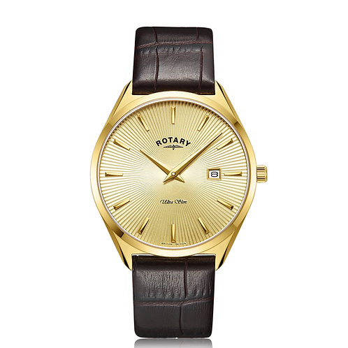 Rotary Mens Gold Leather Watch