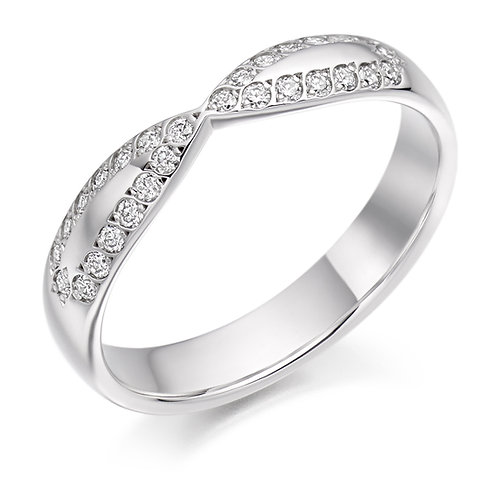 White gold Shaped Half Eternity Ring