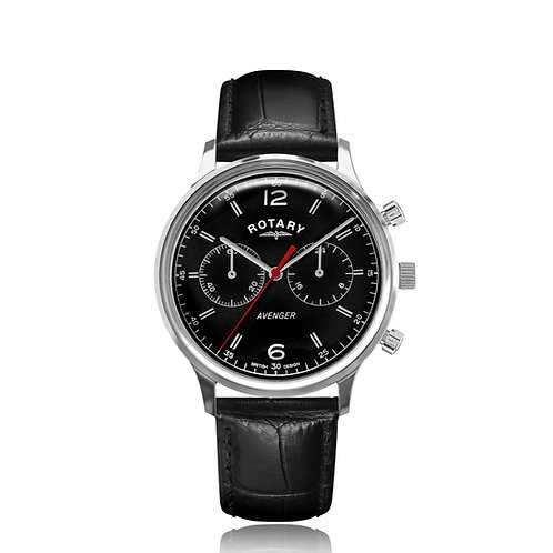 Rotary Avenger Stainless Steel Black Dial Watch
