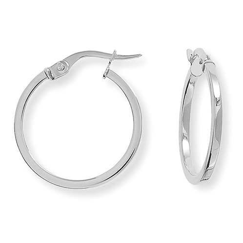 20mm White Gold Hoops