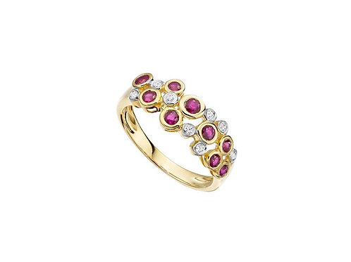 9ct Yellow Gold Rhapsody in Red Ruby Diamond Bubble ring 6176YD/R