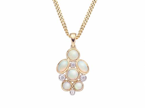 9ct Yellow Gold Opal Rainbow Necklace 6992YDOP