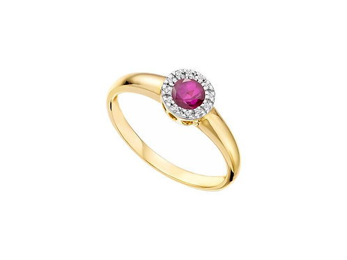 9ct Yellow & White Gold Sienna Ruby Halo Ring 6068YD/R