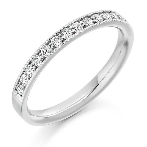 Edge Round Brilliant Cut Diamond Half Eternity Ring