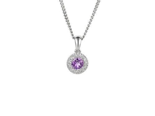 Amathyst Silver Sweet Violet Necklace 6070-AM-CZ