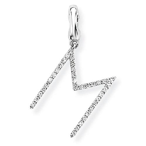 9ct. White Gold Diamond 'M' Initial