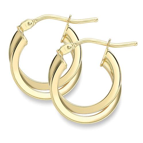 9ct Yellow gold double hoop earrings