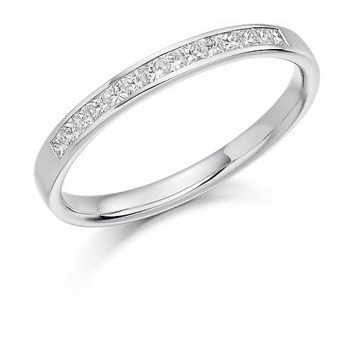 White Gold Channel Set Princess Cut Half Eternity Ring