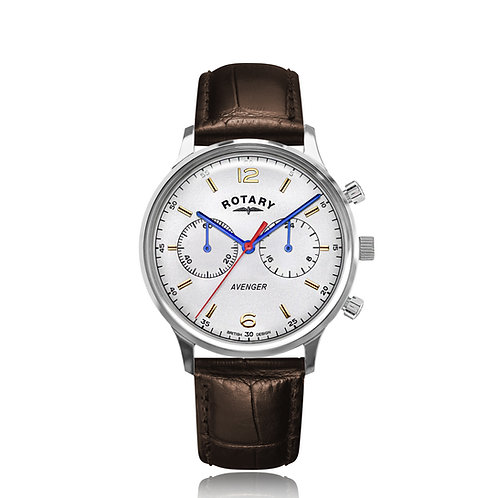 Rotary Avenger Stainless Steel White Dial Watch