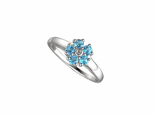 9ct White Gold Foxy Topaz Cluster Ring 6041WD/BT