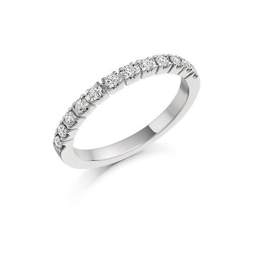 White Gold Bar Set Round Brilliant Cut Diamond Half Eternity Ring