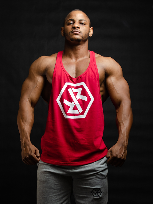 """IR FITNESS WEAR """"NEW EDITION"""" TANK RED/WHITE"""