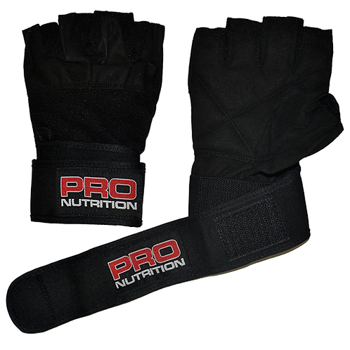 Pro Nutrition Black Gloves with Wrist Support