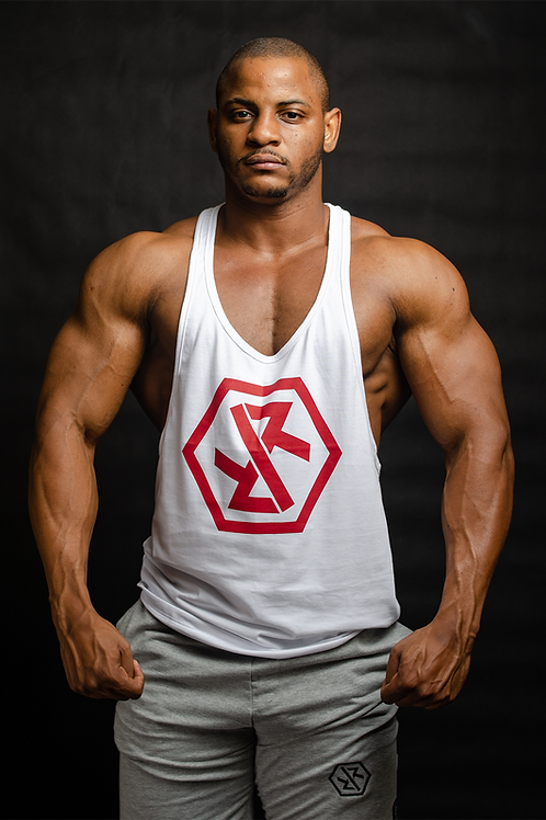 """IR FITNESS WEAR """"NEW EDITION"""" TANK WHITE/RED"""