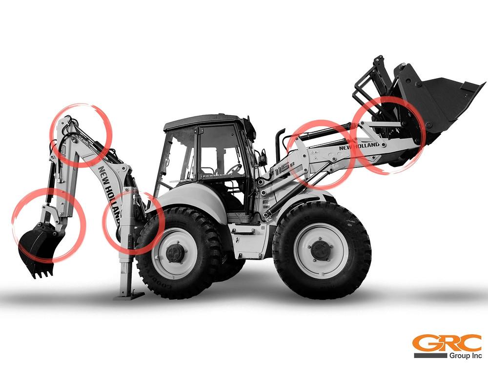 Места ремонта навесного оборудования трактора New Holland B115