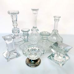 assorted glass candlesticks