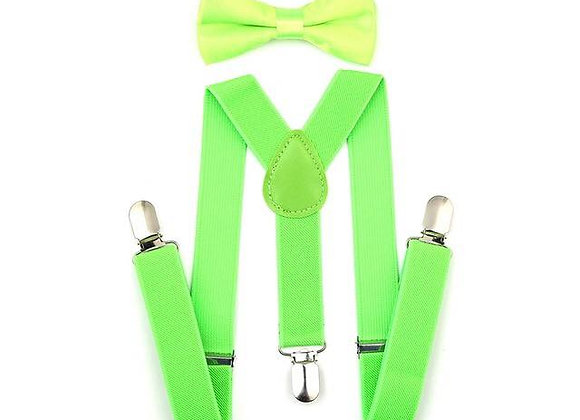 Lime Green Suspender/Bow Tie