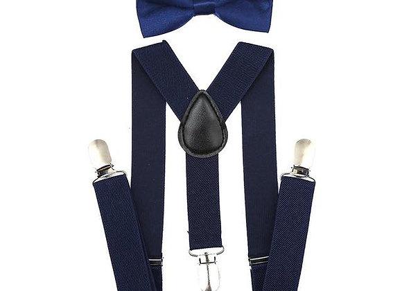Navy Blue Suspender/Bow Tie