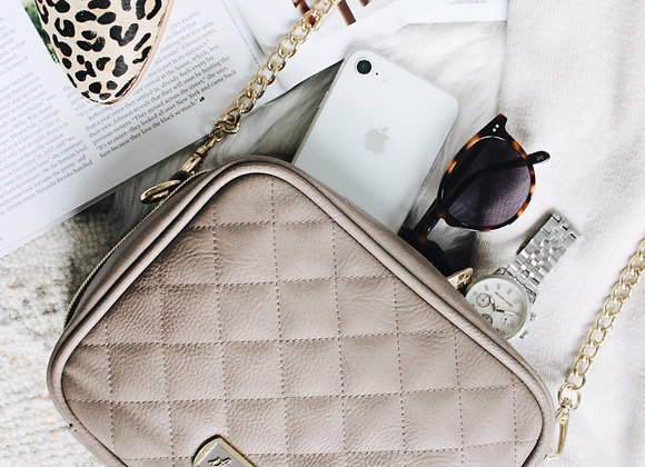 Itzy Ritzy Taupe Double Take™ Crossbody Diaper Bag