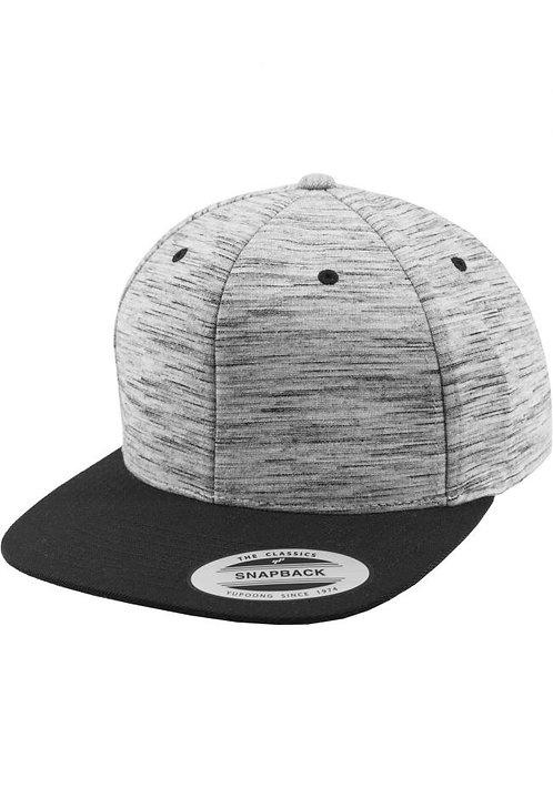 כובע מצחייה ישרה -ג'רזי אפור פסים