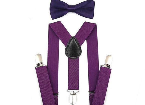 Plum Suspenders/Bow Tie