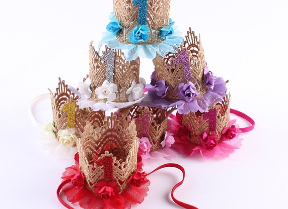 1st Birthday Crown Headbands