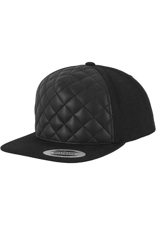 כובע מצחייה ישרה - יהלומים מעור
