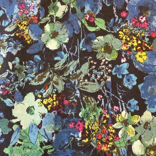 Bloom Bloom Butterfly - moonlit blooms midnight (Half Metre)