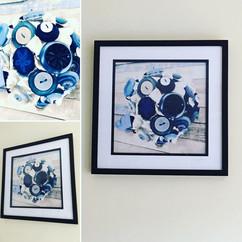 Blue Button Bouquet Framed Art from my Art