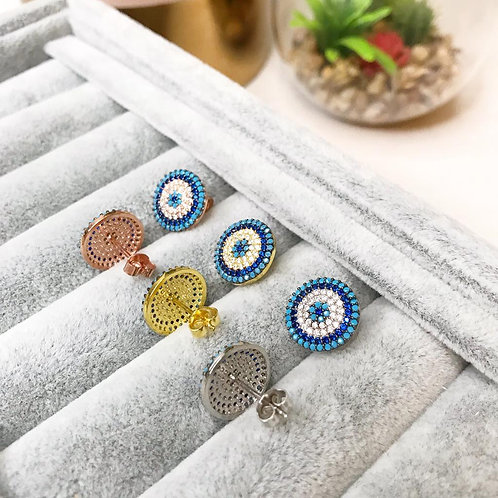 Sparkly Evil Eye Studded Earrings