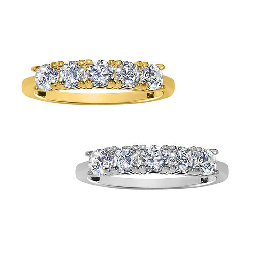 14k Yellow or White Gold 1 1/10ct TGW Round-cut Diamonette 5-Stone Ring