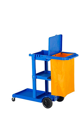Janitor Cart with Bucket Platform, Push Handle, & Bag