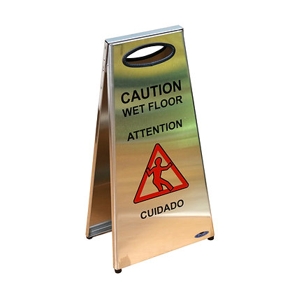 Two-Sided Caution Stainless Steel Wet Floor Sign