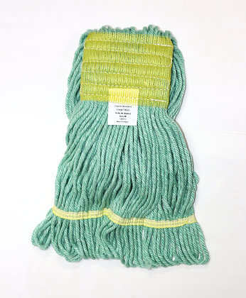 """Small Green Looped-End Wet Mop with Yellow Band (5"""" Head Band)"""