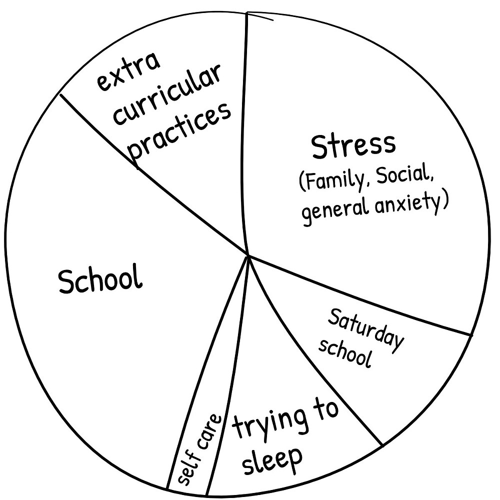 chart outlining stress in a kid's life - too much time allocated to stressful activities