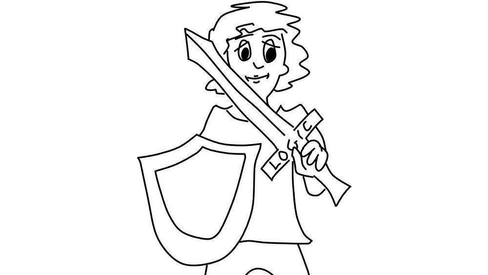 kid with a shield and a sword with the word logic on the hilt