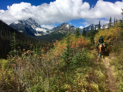 Riding toward the mountains