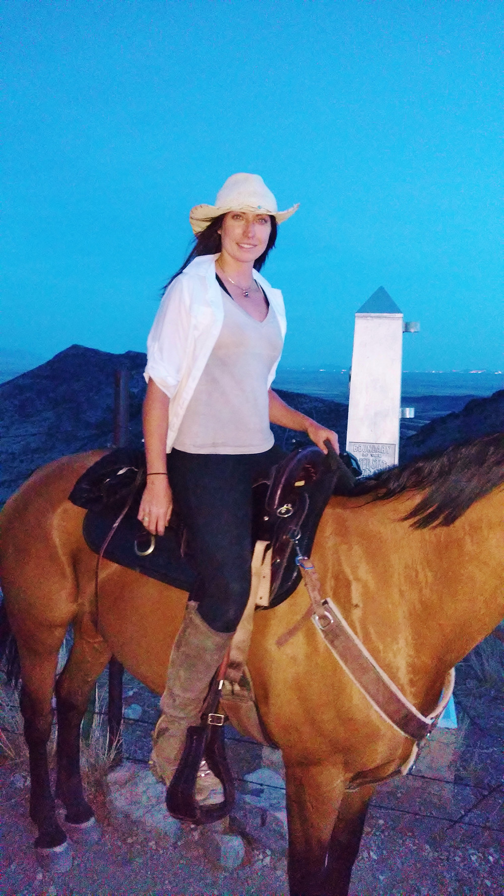 Gillian at the Mexican border where the AZT begins